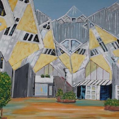 Kubushäuser in Rotterdam 100 x 100 cm. Öl auf Leinwand