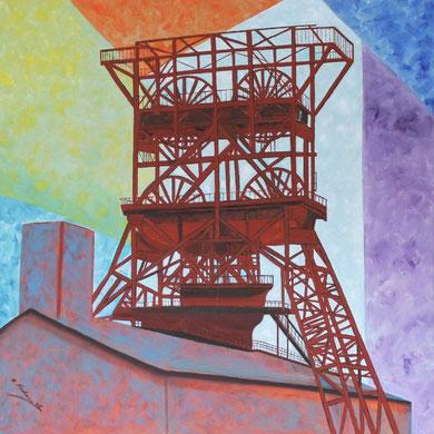 Zeche Consolidation Gelsenkirchen 100 x 100 cm. Öl auf Leinwand