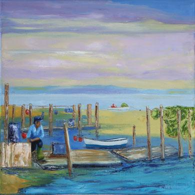 Fischer am Holm, 40 x 40 cm. Öl auf Leinwand, Spachtelarbeit.