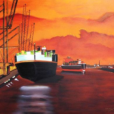 Hamburger Hafen 100 x 120 cm.Öl auf Leinwand