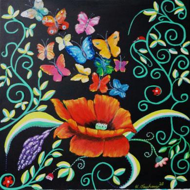 Blumengarten 2, 50 x 50 cm, Öl auf Leinwand