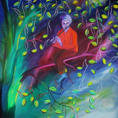 Flötenspieler im Baum, Öl auf Leinwand 100 x 120