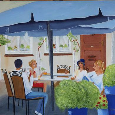 Cafe am Holm in Schleswig, 60 x 80 cm.