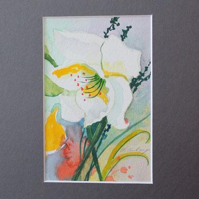 weiße Blüte, mit Passepartout,
