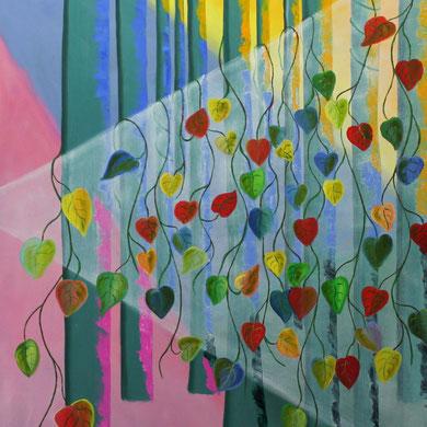 Licht im Farbenwald, 100 x 80 cm. Öl auf Leinwand