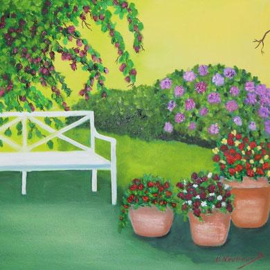 Gartenbank, 40 x 40 cm, Öl auf Leinwand