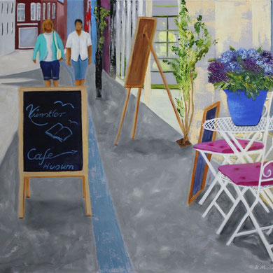 Künstlercafe Husum , 60 x 80 cm. Öl auf Leinwand