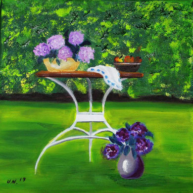 Hortensien, 20 x 20 cm, Öl auf Leinwand  50,-€ im Schattenfugenrahmen.