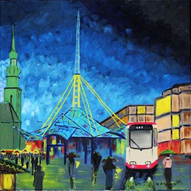 Weihnachtsmarkt in Dortmund mit der letzten Straßenbahn dort am U-Bahnhof. 50 x 50 cm. Öl auf Leinwand