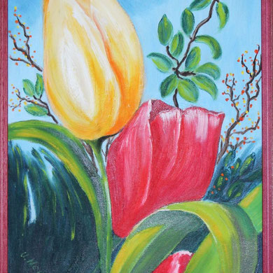 Tulpen, 24 x 30 cm, Öl auf Leinwand,