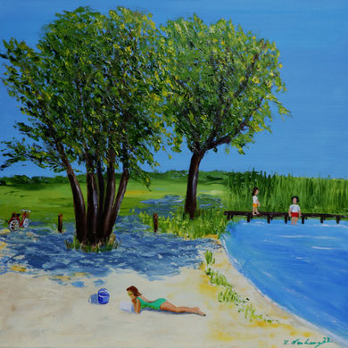 Relaxen im Luisenbad 50 x 50, Öl auf Leinwand