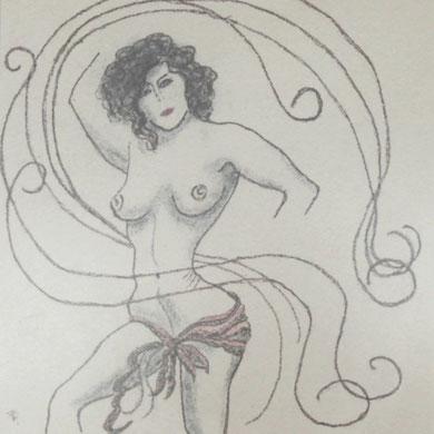 Akt,  Zeichnung auf spezial Sandpapier,