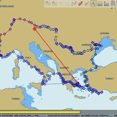Die ungefähre Route ohne Irrfahrt 2012 (durch die griechische Inselwelt).
