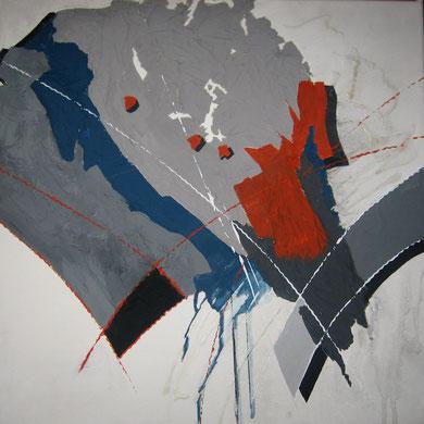 Papiercollage Acryl a. Lw.  50x50   2tlg