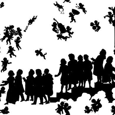 """Anton Bruckner llega al cielo"". Bruckner es recibido por (de izquierda a derecha): Liszt, Wagner, Schubert, Schumann, Weber, Mozart, Beethoven, Gluck, Haydn, Handel y Bach. (Otto Böhler)."