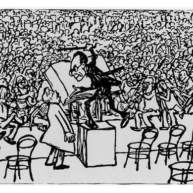 Caricatura de Mahler dirigiendo la 8º sinfonía, 1910.