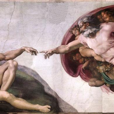 Miguel Ángel: La creación de Adán (Bóveda de la Capilla Sixtina).