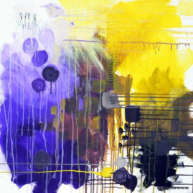 """Bandsalat 02, 80x80, Acryl auf Leinwand, 2019 aus der Serie """"Farbige Wortbilder"""""""