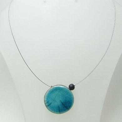 collier raku bleu en raku