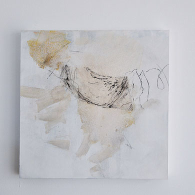 584. Collage Acryl, Papier, Tusche, Kohle  50x50 cm Holzboard  Iris Lehnhardt 2017