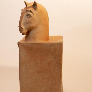 """""""Cheval étrusque"""" Sculpture Indian Stone  cuisson Noborigama H46cm  Pièce Unique -Juan José Ruiz dit """"Caco"""" Artiste Auteur/Sculpteur"""