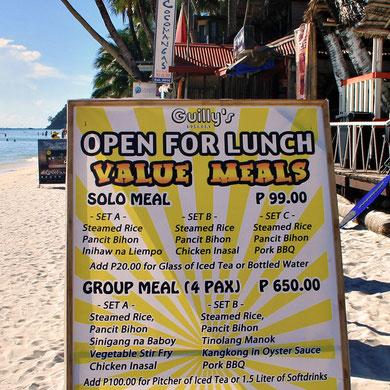 Guilly's Value Meals at Station 1, Boracay, Philippines. 2013 © Sabrina Iovino | JustOneWayTicket.com