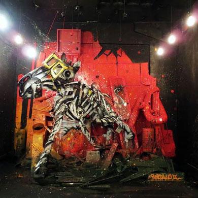street-art-déchet-denonciation-écologie-bordalo2-zebre-zebra