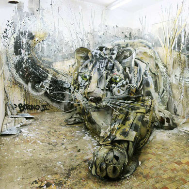 street-art-déchet-denonciation-écologie-bordalo2-panthere-felin