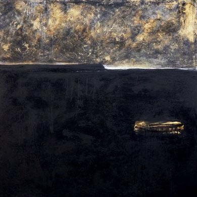 shwarzes gemaltes Bild mit Gold