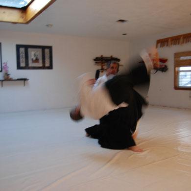 """Marcus Sensei demonstrates a form of Kokyunage, a """"breath throw"""" technique, with uke Jeff Leibowitz."""