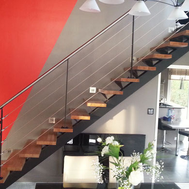escalier bois et acier contemporain