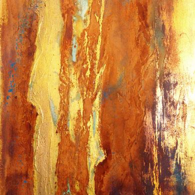 Vergänglichkeit, Acryl Rost mixed media, 2016, 50x80x2