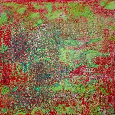 Landkarte, Acryl mixed media, 2015, 70x70x4,5