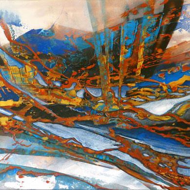 Eruption, Acryl, 2017, 80x60x2