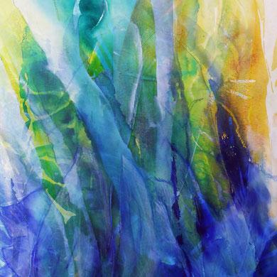 Flora, Acryl mixed media, 2016, 42x68x2, verkauft