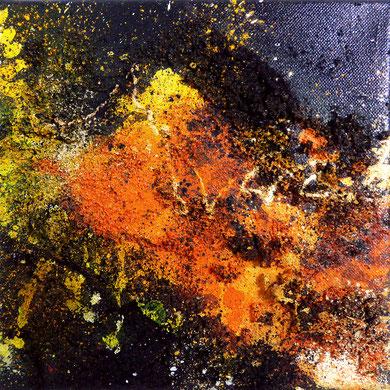 Colours of Lava II, mixed media, 2016, 20x20x2, verkauft