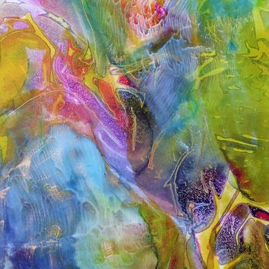 Paradies, Acryl mixed media, 2016, 38x62x2