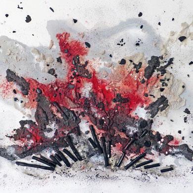 Explosion, mixed media, 2015, 80x60x4,5, verkauft