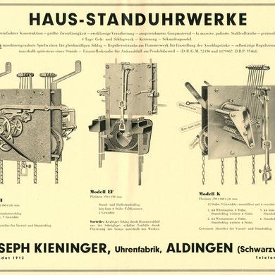 Prospektblatt Hausuhrwerke H EF K 1930