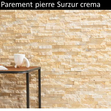 Parement pierre naturelle crème Surzur marbre