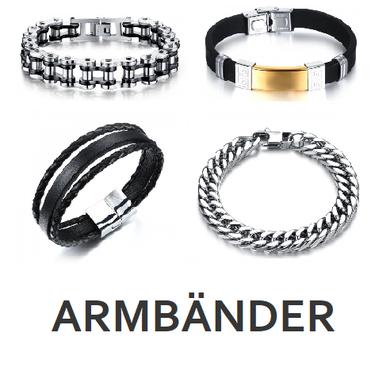 Männer Armbänder / Armketten von My Bijouterie. Grosse Auswahl an akutellen Trends wie Königsketten Armband, Motorradketten Armband, Panzer Armband, Leder- und Silikon Armband.