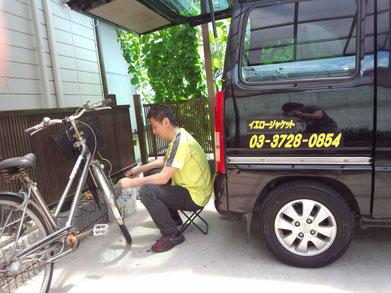 自転車修理風景