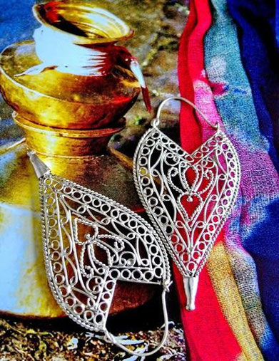 Mehndi: ornate, sterling-silver, wire-work-earrings with solid, carved, pointed tip