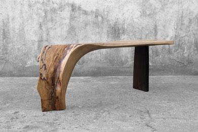 C1166 · Beech, Smoked Oak#bench#stool#console#sculpture##woodworking#interiordesign#woodsculptures#art#woodart#wooddesign#decorativewood#originalartwork#modernwoodsculpture#joergpietschmann#oldwood