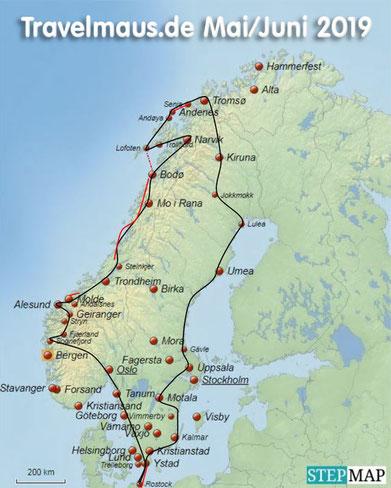 ...unsere geplante Route 2019 (schwarz=Straßen; rot = Fährstrecken)