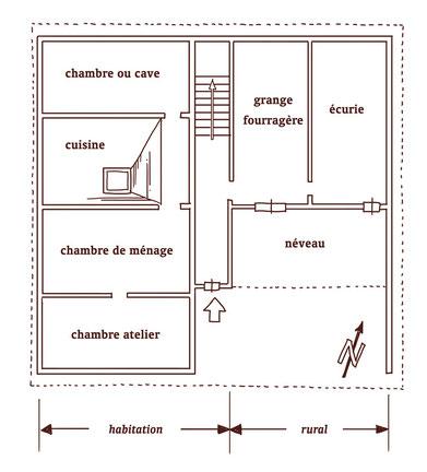 Plan schématique d'une maison paysanne