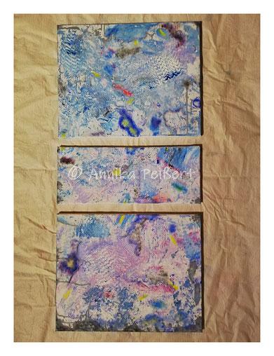 Technik-Mix, Acryl auf Keilrahmen, 40/20/40 x 50 cm