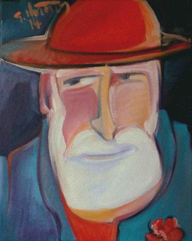 """Selbst mit rotem Hut"", 2014, Öl / Leinwand, 60 x 50 cm"