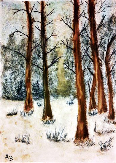 Winterwald, Pastellgemälde, Bäume, Wald, Schnee, Winter, Büsche, Natur, Landschaftsbild, Pastellmalerei, Pastellbild