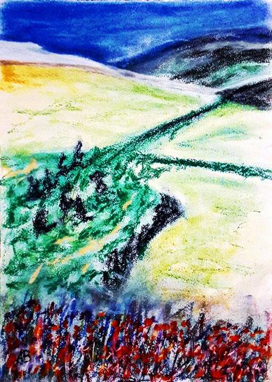 Hügellandschaft,Pastellgemälde, Hügellandschaft, Berge, Bäume, Wald, Landschaftsbild, Pastellmalerei, Pastellbild